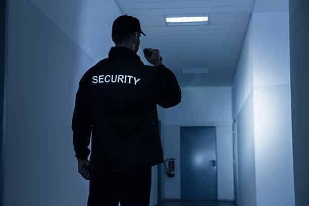 SSR Security guard in alarm response for a corporate building